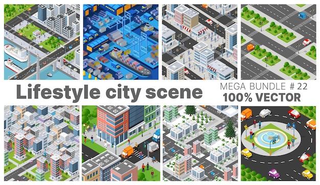 La scena dello stile di vita della città imposta illustrazioni su temi urbani con le case