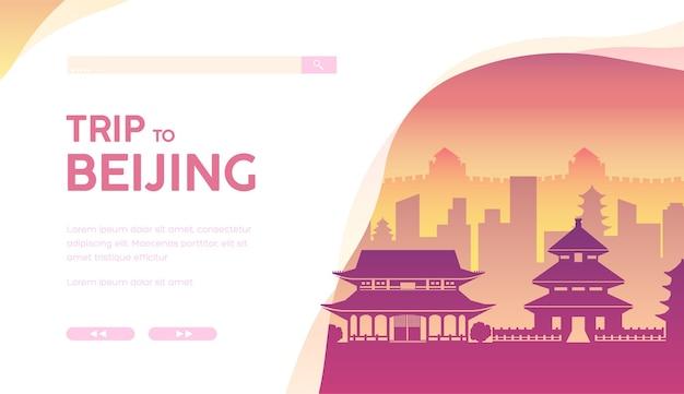 Paesaggio urbano di pechino con attrazioni turistiche, monumenti famosi, grande muraglia, templi, pagode.