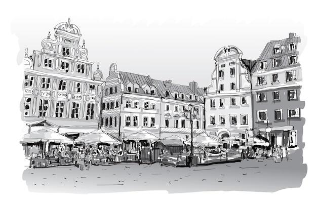 Schizzo del disegno di paesaggio urbano nell'illustrazione del centro della polonia