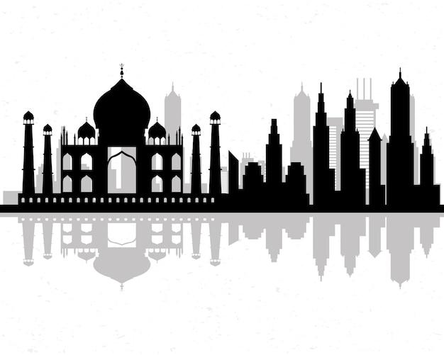 Icona di scena dell'orizzonte dell'india di paesaggio urbano