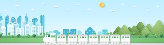 Paesaggio urbano, paesaggio, edificio, villaggio e montagna con cielo blu e sole, treno, trasporto, stile di arte della carta
