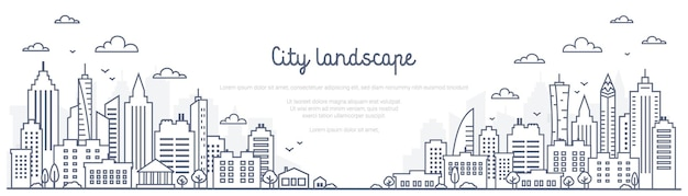 Paesaggio urbano linea panorama paesaggio urbano in stile lineare