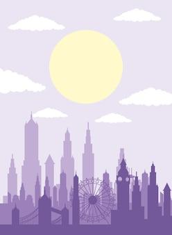 Icona di scena dell'orizzonte di londra di paesaggio urbano