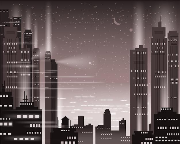 Luci notturne della metropoli di paesaggio urbano di una grande città, neon illuminato, grattacieli, centro, orizzonte