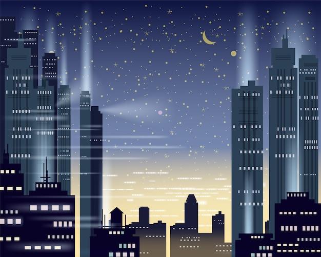 Luci notturne della metropoli di paesaggio urbano di una grande città