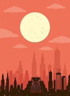 Icona di scena dell'orizzonte del messico di paesaggio urbano