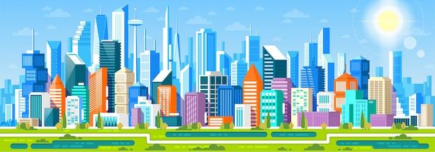 Panorama di paesaggio urbano con diversi edifici, centro ufficio, stor