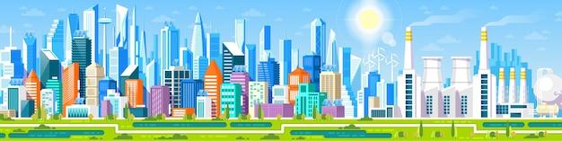 Panorama di paesaggio urbano con diversi edifici, centro uffici, stor