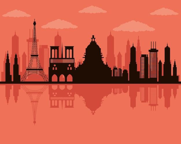 Icona di scena dello skyline di parigi di paesaggio urbano