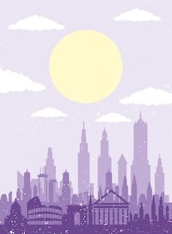 Icona di scena di paesaggio urbano roma skyline