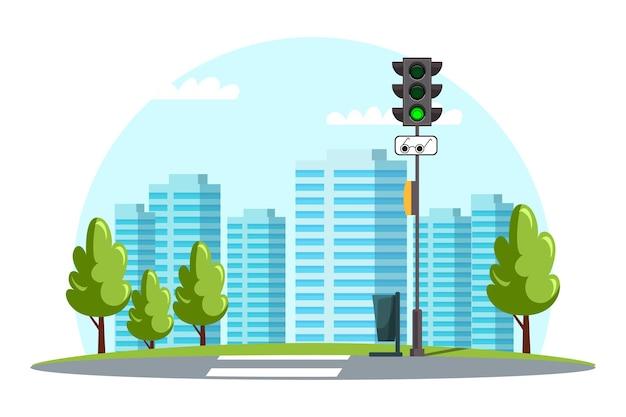Paesaggio urbano, infrastrutture urbane, strisce pedonali stradali, segno pedoni ciechi, segnale verde semaforo