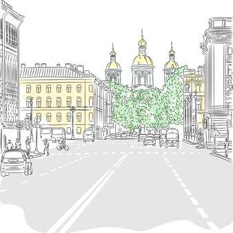 Paesaggio urbano, l'ampio viale con vista sulla chiesa