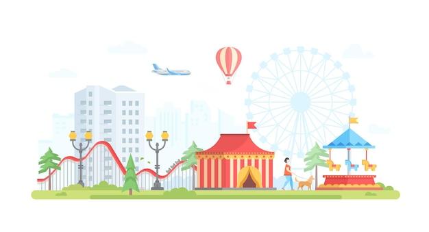 Paesaggio urbano con attrazioni - illustrazione vettoriale di stile moderno design piatto su fondo urbano. vista incantevole con giostra, circo, aeroplano, montagne russe, lanterne concetto di intrattenimento