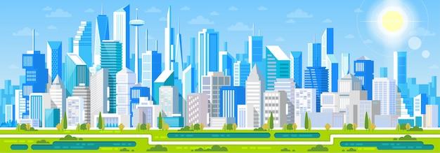Paesaggio urbano con edifici. case private parchi e montagne