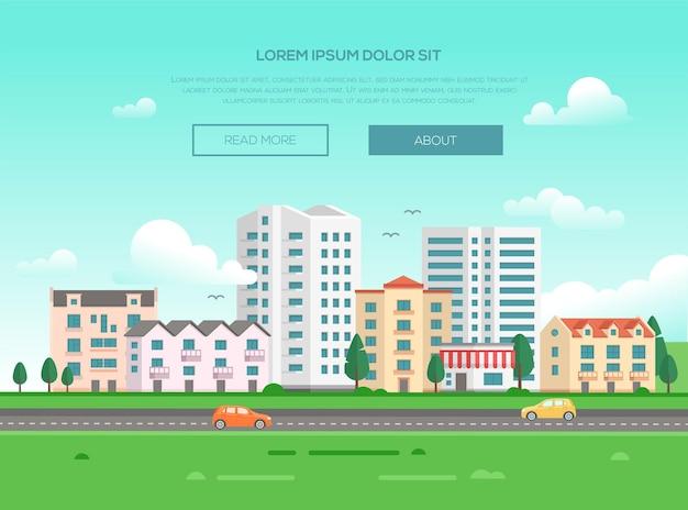 Paesaggio urbano con una strada - illustrazione vettoriale moderna con posto per il testo. bella cittadina o città con grattacieli e piccoli edifici e case a piani bassi, alberi, erba verde, automobili, uccelli nel cielo