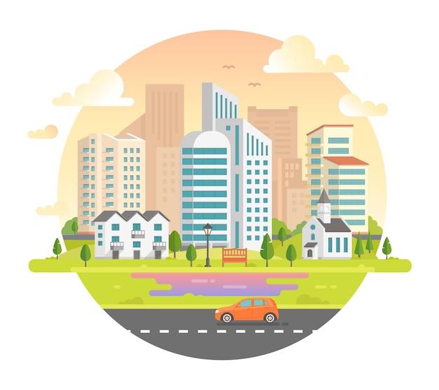 Paesaggio urbano con grattacieli in una cornice rotonda - illustrazione vettoriale moderna. bella città su sfondo bianco con una strada, auto, chiesa, lanterna, panchina, edificio a piani bassi, alberi, nuvole, uccelli nel cielo