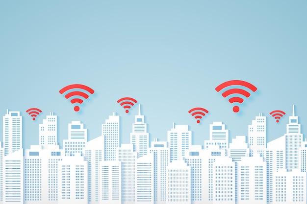 Paesaggi urbani, edificio di carta con segnale, icona wifi