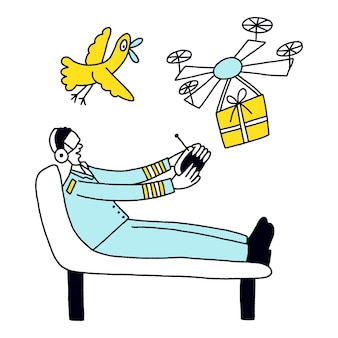 Pilota o spedizioniere di droni civili o commerciali concetto di carriera futura