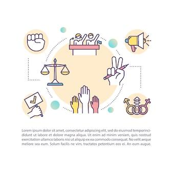 Icona di concetto di diritti civili con testo. tutela delle libertà individuali. processo di desegregazione. modello di pagina ppt. brochure, rivista, elemento libretto con illustrazioni lineari