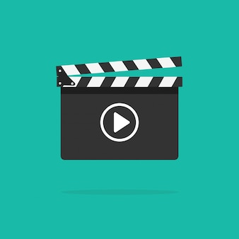 Icona ciak con pulsante video Vettore Premium