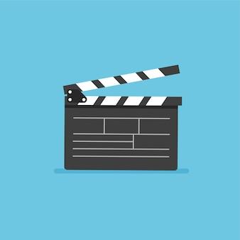 Icona di vettore di ciak attrezzatura di film video illustrazione vettoriale in stile piatto alla moda isolato