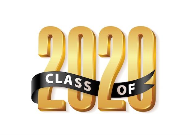 Classe del 2020. logo 3d di graduazione in oro con nastro nero