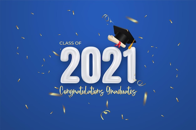 Banner di laurea classe 2021 con diploma di coriandoli e laurea con cappuccio