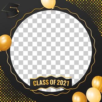 Classe di laurea 2021 design di lusso dorato con palloncino e cappuccio