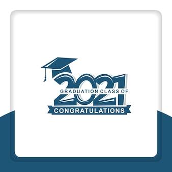 Design del logo di saluto della classe del 2021 per la cerimonia di laurea per la carta del timbro dell'invito della camicia