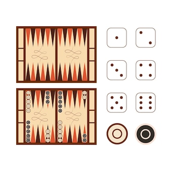 Campo di gioco del backgammon classico con set di dadi isolato su bianco