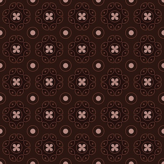 Fondo senza cuciture classico batik. carta da parati geometrica di lusso mandala. elegante motivo floreale tradizionale in colore marrone