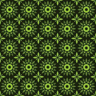 Fondo senza cuciture classico batik. carta da parati mandala geometrica di lusso. elegante motivo floreale tradizionale di colore verde
