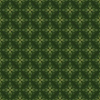 Fondo senza cuciture classico batik. carta da parati geometrica di lusso. elegante motivo floreale tradizionale di colore verde