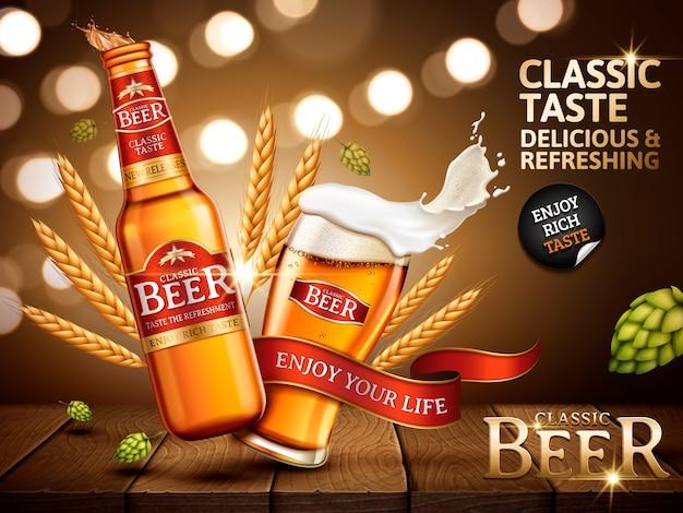 Annuncio di birra classica contenuto in bottiglia e vetro, con etichette rosse luminose attaccate, illustrazione