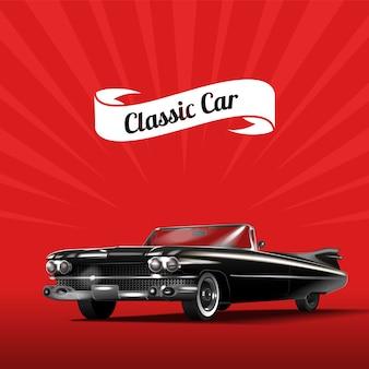 Classica automobile nera su sfondo rosso