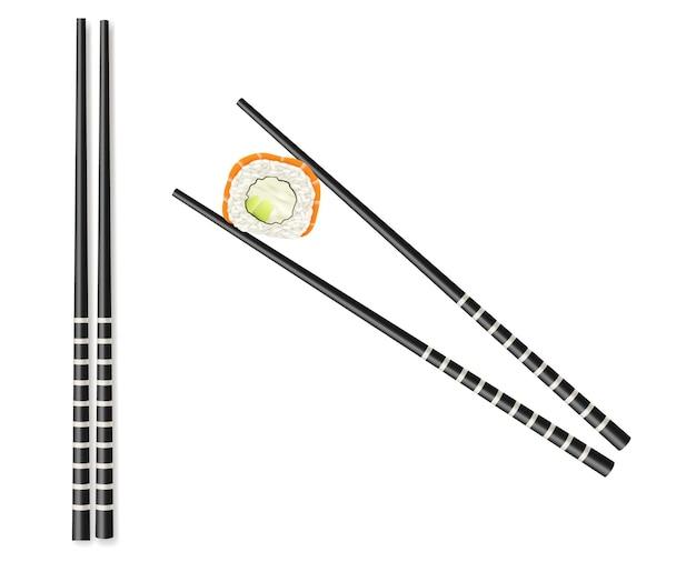 Set di bacchette nere classiche: tenendo il bastone di bambù del rotolo di pesce isolato. utensili per piatti della cucina tradizionale giapponese orientale. illustrazione vettoriale 3d realistica