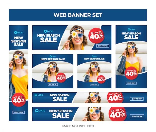 Insieme della bandiera di vendita web blu classico Vettore Premium