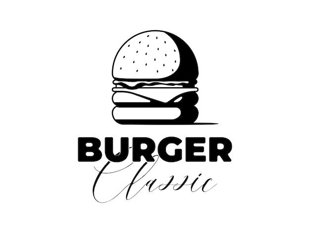 Insegna pubblicitaria classica del pasto degli alimenti a rapida preparazione dell'hamburger con l'iscrizione dell'iscrizione hamburger delizioso o