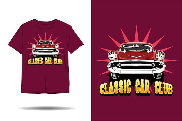 Disegno della maglietta dell'illustrazione del club di auto d'epoca