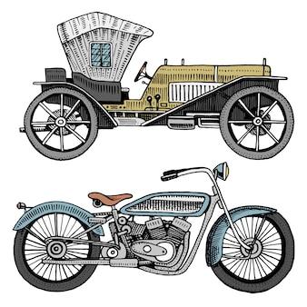 Illustrazione classica dell'automobile, della macchina o del motore e del motociclo o della motocicletta. incisi disegnati a mano in stile schizzo antico, trasporto vintage.