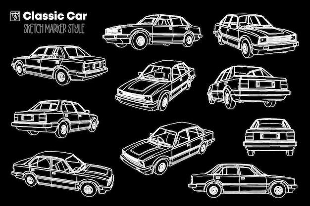 Insieme dell'illustrazione della siluetta dell'automobile classica