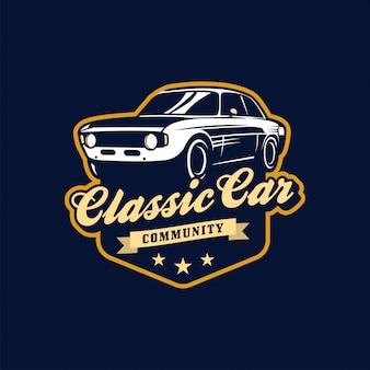 Insegne o logo di vettore di auto d'epoca
