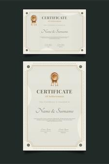 Modello di certificato classico con ornamento astratto