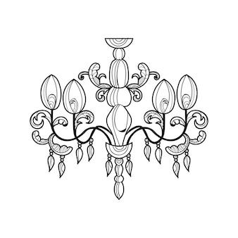 Lampadario classico. design di accessori di decorazione di lusso. illustrazione vettoriale schizzo