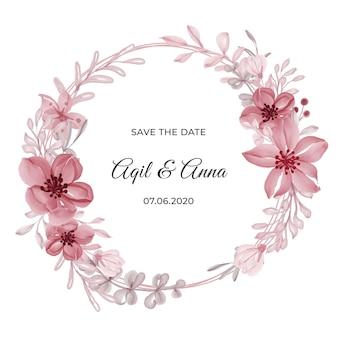 Carta di invito classico cerchio rosa ghirlanda di fiori cornice Vettore Premium