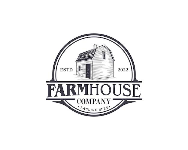 Emblema classico logo casa colonica modello di progettazione logo fienile retrò