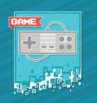 Classica illustrazione piatta del joystick rettangolare con filo su sfondo blu