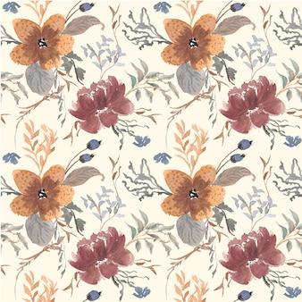 Modello senza cuciture dell'acquerello di brunch floreali classici
