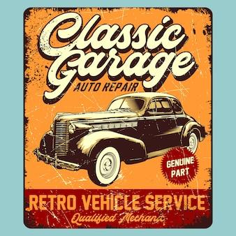 Grafica retrò di garage classico