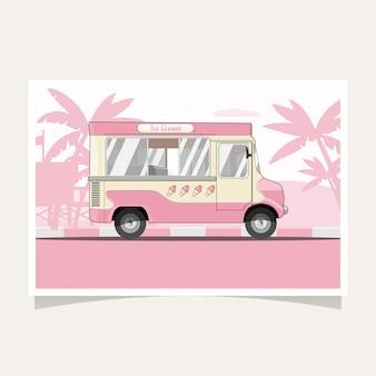 Illustrazione piana del camion classico del gelato